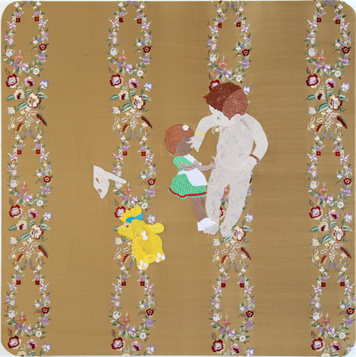 Raed Yassin. Naked With Doll And Teddy Bear (Dancing Smoking Kissing Series), 2013. Silk thread embroidery on embroidered silk cloth, 80 x 80 cm. Kalfayan Galleries. Photograph courtesy of Kalfayan Galleries, Athens, Thessaloniki.