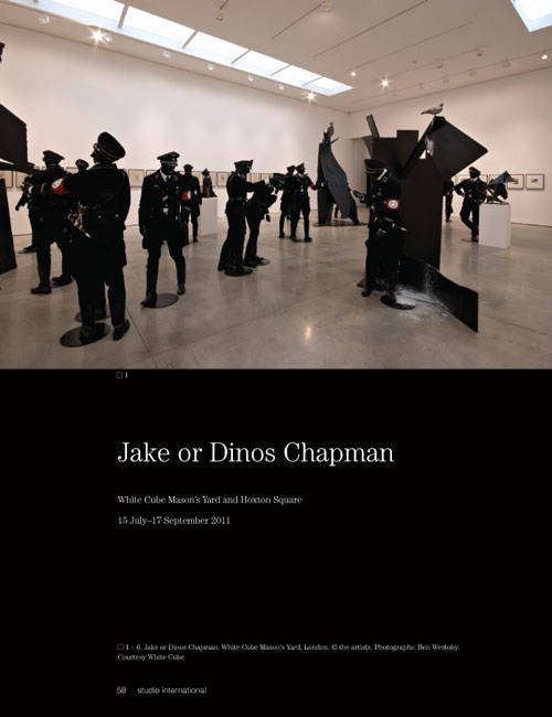Studio International Yearbook 2011, page 58. Jake or Dinos Chapman. White Cube Mason's Yard, London. © the artists. Photographs: Ben Westoby. Courtesy White Cube.
