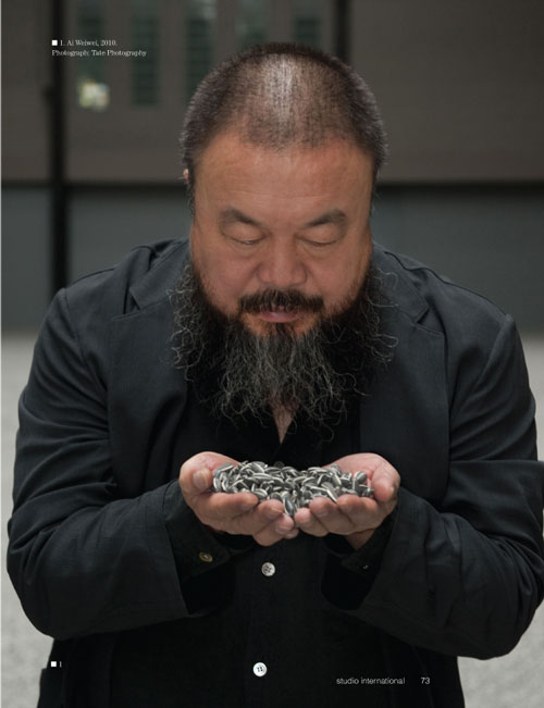 Studio International Yearbook 2011, page 73. Ai Weiwei, 2010. Photograph: Tate Photography.