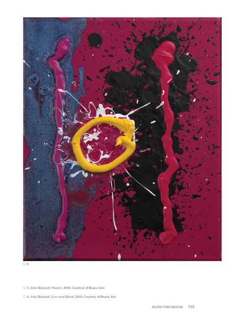 Studio International Yearbook 2011, page 113. John Hoyland. Love and Blood, 2010. Courtesy of Beaux Arts.