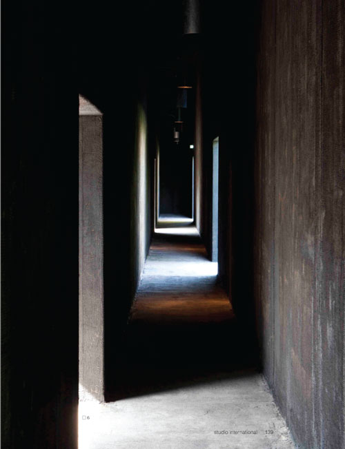 Studio International Yearbook 2011, page 139. Serpentine Gallery Pavilion 2011. Designed by Peter Zumthor. © Peter Zumthor. Photograph: Walter Herfst