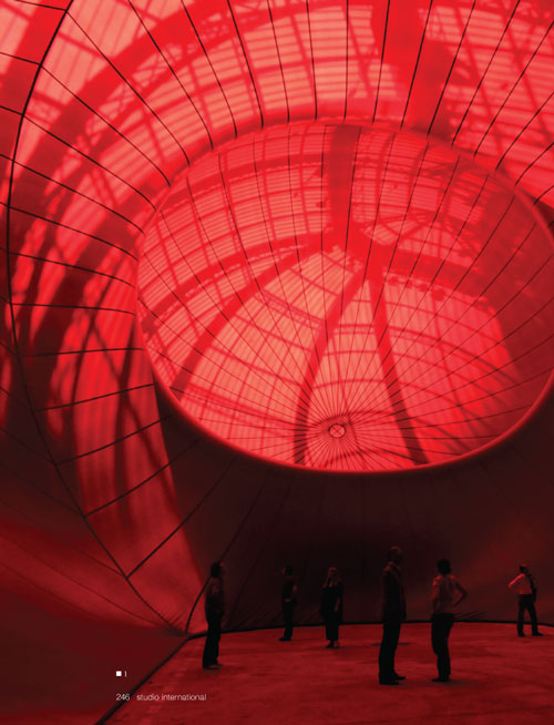 Studio International Yearbook 2011, page 246. Anish Kapoor. Leviathan, 2011. View from inside the artwork. Photo Plowy Didier - All Rights Reserved Monumenta 2011, the Ministry of Culture and Communication