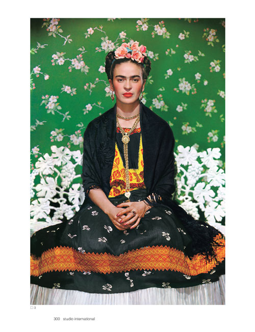 Studio International Yearbook 2011, page 300. Nickolas Muray. Frida on White Bench, 1938. Carbro print. Photo by Nickolas Muray. © Nickolas Muray. Photo Archives.