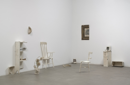 Yoko Ono. Half-A-Room, 1967. Various objects cut in half, most painted white. Installation dimensions variable. Private collection. © Yoko Ono 2014.