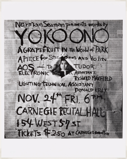 Works by Yoko Ono, poster, Carnegie Recital Hall, New York, November 24, 1961. Photograph: George Maciunas. The Museum of Modern Art, New York. The Gilbert and Lila Silverman Fluxus Collection Gift, 2008. © 2014 George Maciunas.