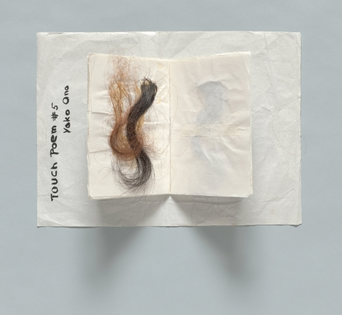 Yoko Ono. Touch Poem #5. c1960. Hair, ink on paper, 9 7/8 × 13 7/16 in (25 x 34.1 cm). Private collection. © Yoko Ono 2014.