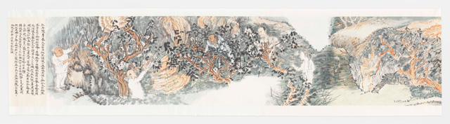 Yun-Fei Ji. The Village and Its Ghosts, 2014 Ink and watercolour on Xuan paper, image: 13 ½ in x 59 ft 6 ¼ in (34.3 cm x 18.1 m); sheet: 16 1/8 in x 59 ft 11 ¼ in (41 cm x 18.3 m). Courtesy of the artist and James Cohan, New York.