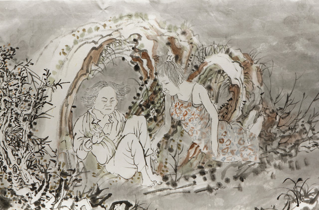 Yun-Fei Ji. After the First Seventh Day, 2016. Ink and watercolour on Xuan paper. Suite of three scrolls: two measuring 17 in x 10 ft (43.2 cm x 3 m); one measuring 17 in x 15 ft (44.5 cm x 4.6 m). Courtesy of the artist and James Cohan, New York.
