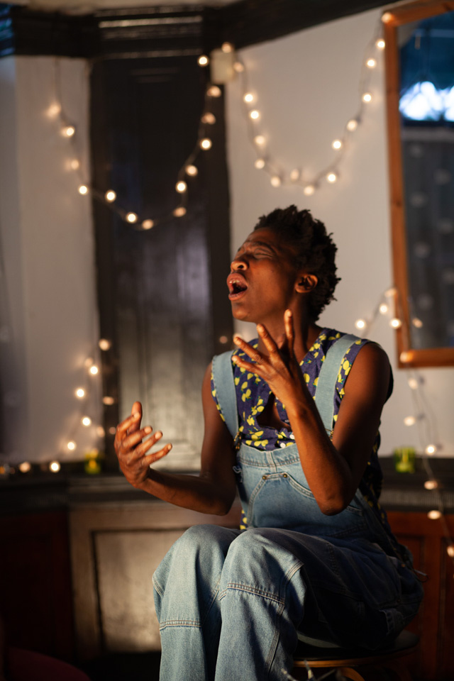 Mwiinga Twyman performing during the filming of Here for Life (2019). Photograph: Marc Hankins.