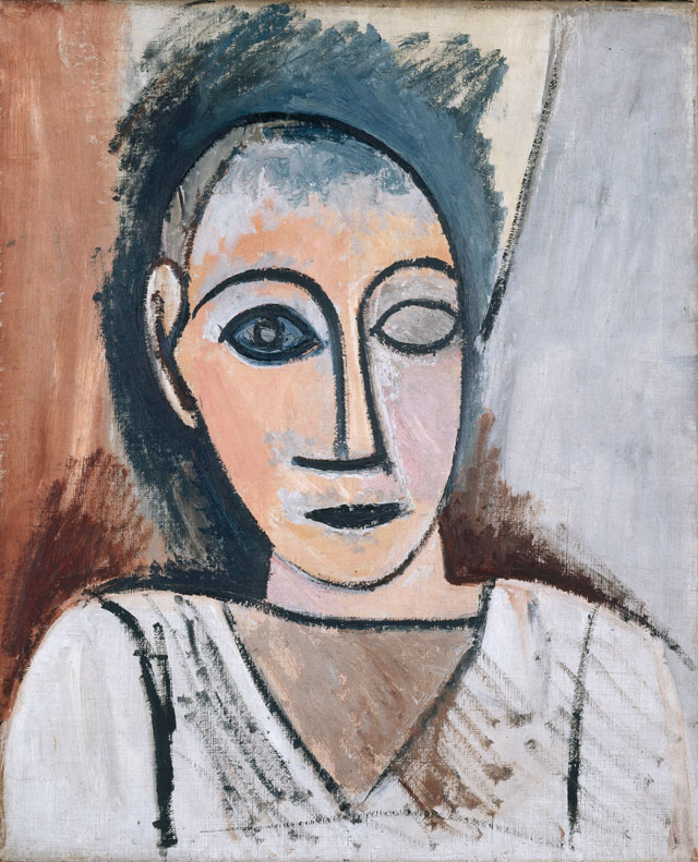 Pablo Picasso. Male Bust (study for Les Demoiselles d'Avignon), 1907. Oil on canvas, 22 1/16 x 18 5/16 in. Musée national Picasso Paris, MP14. © 2017 Estate of Pablo Picasso / Artists Rights Society (ARS), New York. Image © RMN Grand Palais / Art Resource, NY. Photograph: René Gabriel Ojéda.