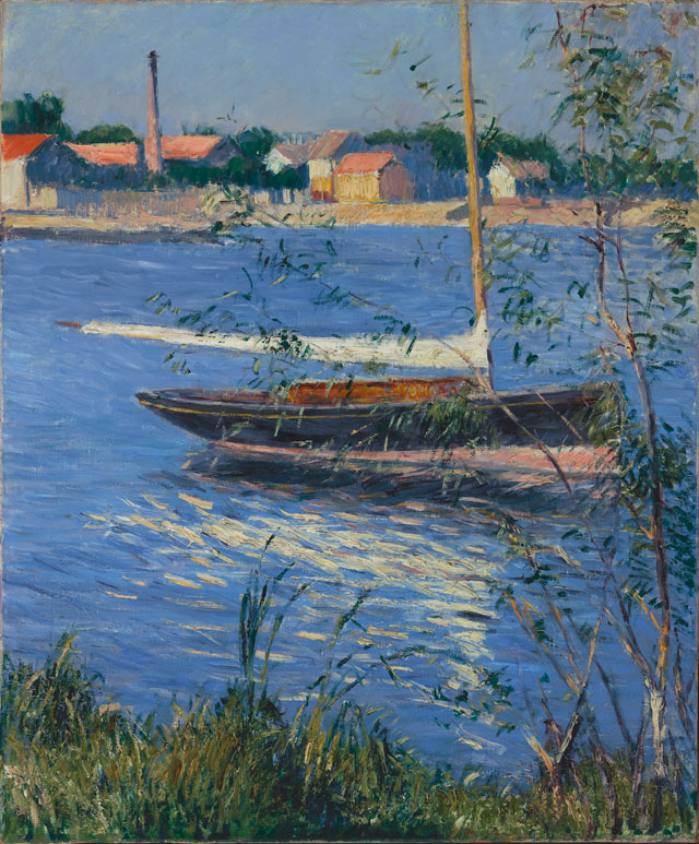 Gustave Caillebotte. Boat Moored on the Seine at Argenteuil, c1884. Oil on canvas, 25 ¾ x 21 3/8 in. Gift of Henry W. and Marion H. Bloch, 2015.