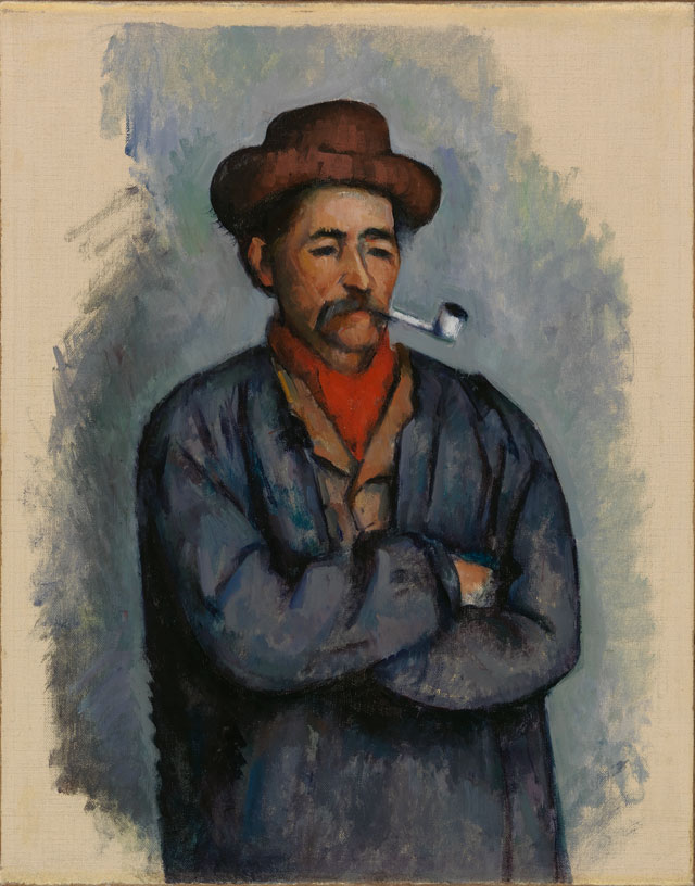 Paul Cézanne. Man with a Pipe, 1890-1892. Oil on canvas, 17 x 13 1/2 in. Gift of Henry W. and Marion H. Bloch, 2015.