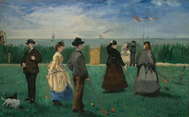 Édouard Manet. The Croquet Party, 1871. Oil on canvas, 18 x 28 ¾ in. Gift of Henry W. and Marion H. Bloch, 2015.