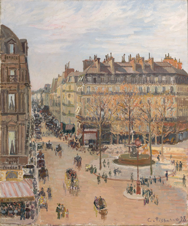 Camille Pissarro. Rue Saint-Honoré, Sun Effect, Afternoon, 1898. Oil on canvas, 25 3/4 x 21 1/2 in. Gift of Henry W. and Marion H. Bloch, 2015.