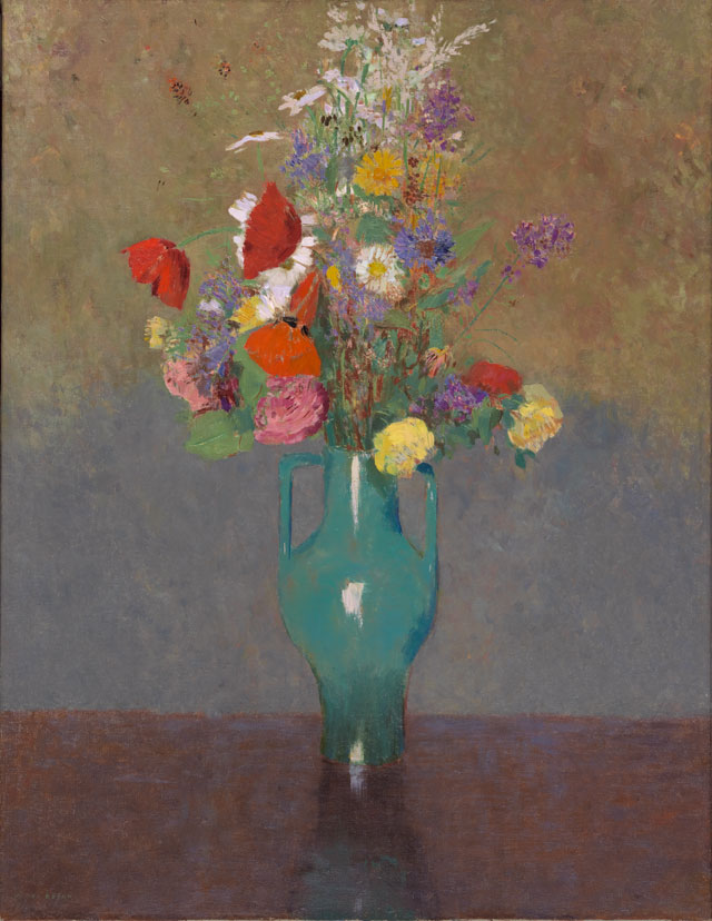 Odilon Redon. The Green Vase, c1900. Oil on canvas, 28 3/4 x 21 1/4 in. Gift of Henry W. and Marion H. Bloch, 2015.