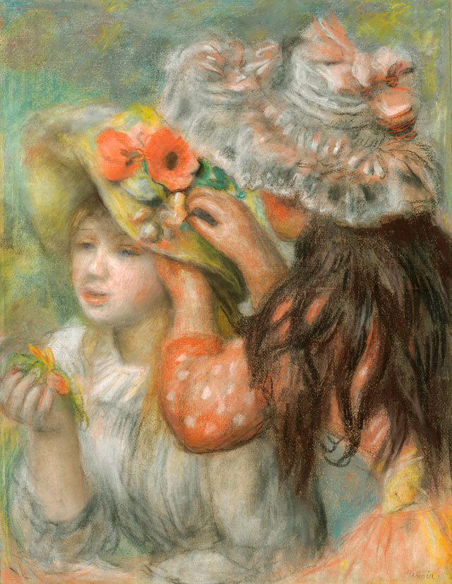 Pierre-Auguste Renoir. The Flowered Hat, 1890-1895. Pastel on paper, 25 5/8 x 20 1/8 in. Gift of Henry W. and Marion H. Bloch, 2015.