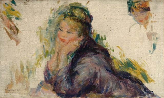 Pierre-Auguste Renoir. Woman Leaning on Her Elbows, 1875-1885. Oil on canvas, 5 1/2 x 9 in. Gift of Henry W. and Marion H. Bloch, 2015.