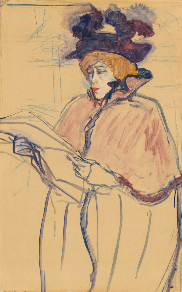 Henri de Toulouse-Lautrec. Jane Avril Looking at a Proof, 1893. Oil and crayon on paper, 20 1/4 x 12 3/4 in. Gift of Henry W. and Marion H. Bloch, 2015.