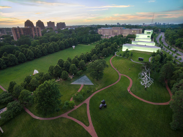 Aerial view of the The Nelson-Atkins Museum of Art. Courtesy The Nelson-Atkins Museum of Art.