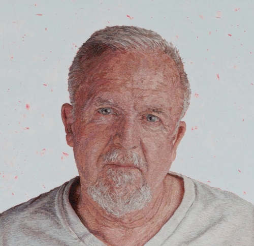 Cayce Zavaglia. Ray (A Portrait of My Father), 2015. Hand embroidery. One ply cotton, silk and wool thread on Belgian linen with acrylic, 7.5 x 7.5 in (19.1 x 19.1 cm).