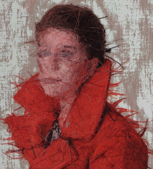 Cayce Zavaglia. Raphaella In Her Winter Coat (After Alex), verso, 2015. Hand embroidery, Crewel wool on Belgian linen with acrylic paint. 14.5 x 30.5 in (36.8 x 77.5 cm).