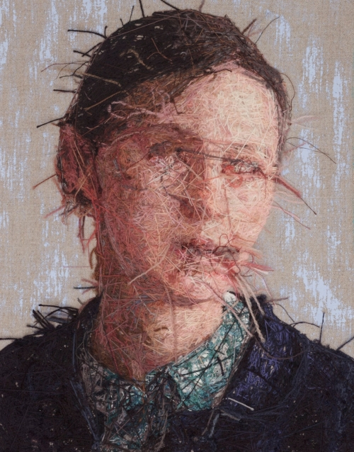 Cayce Zavaglia. Martina (verso), 2015. Hand embroidery. Crewel wool on Belgian linen with acrylic paint, 13.5 x 10 in (34.3 x 25.4 cm).