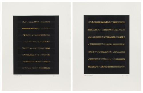 Zarina. Northeast Light I & II, 2014. BFK light paper printed with black ink and collaged with strips of black and 22-karat gold leaf paper mounted on Somerset white paper. Diptych. Unique. Sheet size: 26 x 19 3/4 in (66.04 x 50.17 cm). © Zarina; Courtesy of the artist and Luhring Augustine, New York.
