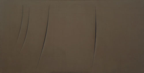 Lucio Fontana. Concetto spaziale, Attese, 1959. Synthetic paint on canvas, 125 × 250.8 cm. Solomon R. Guggenheim Museum, New York, Gift, Mrs. Teresita Fontana, Milan 77.2322. © 2014 Artists Rights Society (ARS), New York/SIAE, Rome. Photograph: David Heald © The Solomon R. Guggenheim Foundation, New York.