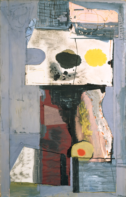 Robert Motherwell. Personage (Autoportrait), 1943. Gouache, ink, and pasted coloured paper and Japanese paper on paperboard, 103.8 x 65.9 cm. The Solomon R. Guggenheim Foundation, Peggy Guggenheim Collection, Venice. © Dedalus Foundation/Licensed by VAGA, New York. Photograph: Sergio Martucci © 2013 The Solomon R. Guggenheim Foundation, New York.