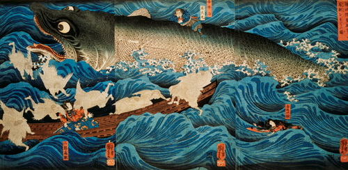 Utagawa Kuniyoshi. The Rescue of Minamoto no Tametomo by Goblins, c 1851. © Victoria and Albert Museum, London.