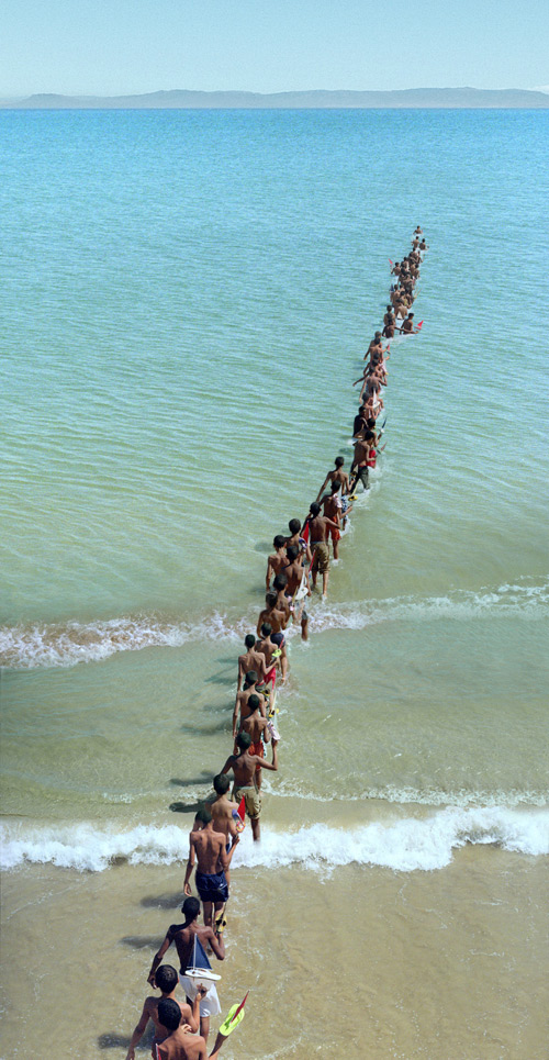 Francis Alÿs. Don't Cross the Bridge Before You Get to the River, 2008. Strait of Gibraltar - Video and photographic documentation of an action. Photograph: Jorge Golem.