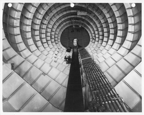 View aft through the fuselage of the Hughes Flying Boat under construction from the cargo deck. Photo from the Evergreen Aviation & Space Museum Collection. © Evergreen Aviation & Space Museum.
