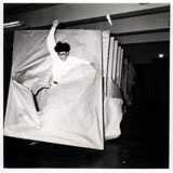 Murakami Saburō. Passing Through, 1956. Performance view: 2nd Gutai Art Exhibition, Ohara Kaikan, Tokyo, ca. 11-17 October 1956. © Murakami Makiko and the former members of the Gutai Art Association, courtesy Museum of Osaka University.