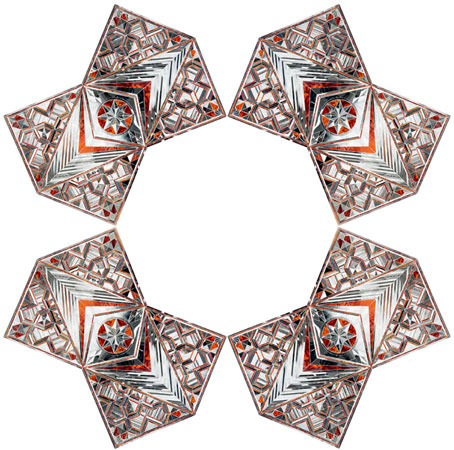 Monir Shahroudy Farmanfarmaian. Convertible Series, 2010. Mirror and reverse glass painting on plaster and wood. Variable size. All images must be credited to the Artist and The Third Line.