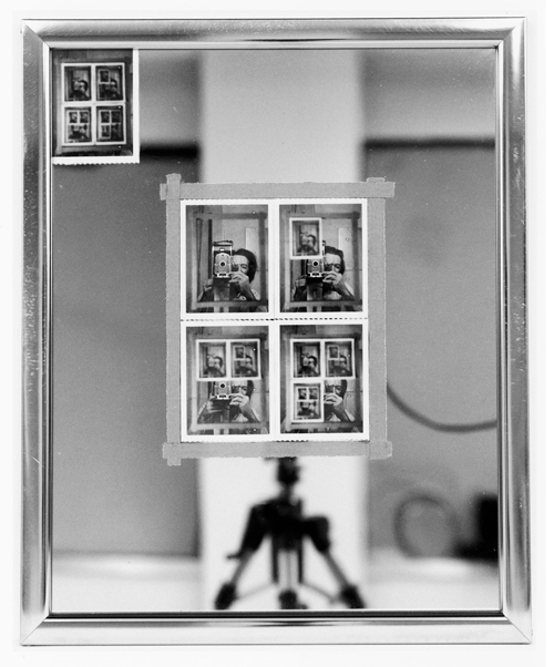 Michael Snow, Canadian, b 1928. Authorization, 1969. Five instant silver prints (Polaroid 55), adhesive tape, mirror in metal frame, 21 1/2 x 17 1/2 inches (54.6 x 44.4 cm).