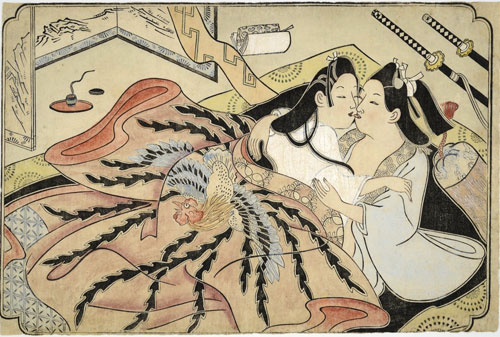 Sugimura Jihei (fl. 1681-1703). Lovers under a quilt with phoenix design, untitled. Erotic picture, mid-1680s. Private collection, USA.