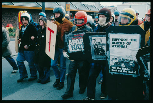 Wellington Pink Squad protest group, Riddiford Street, Wellington, 1981. Photograph: John Miller.
