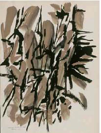 George Morrison. Grey and Black Composition, 1960. Gouache on paper, 14 x 10 1/2 in. Collection Minnesota Museum of American Art. Gift of George Morrison.